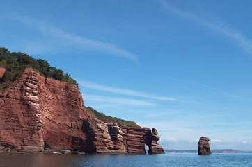 The Parson and Clerk headland along the coast from Teignmouth.