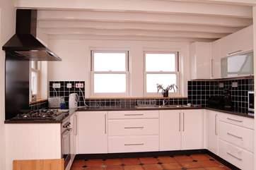 The spacious kitchen-area.