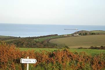 The view to the sea as you approach Tregarne.