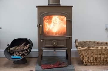 The roaring wood-burner.