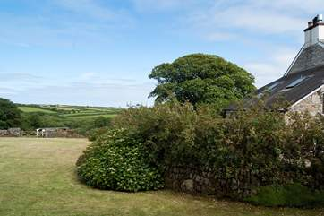 The view from the bedroom over the garden and beyond.