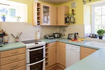 The compact but well equipped kitchen