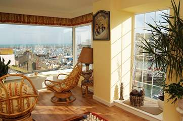 The sitting-room on the first floor has marvellous views.