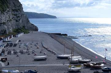 The lovely pebbled beach at Beer - there is a great cafe too, and you can also buy fresh fish straight off the boats.