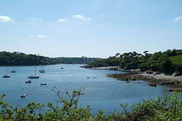 The Helford River, with beautiful Trebah Garden's private beach in the distance on the right.