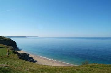 The spectacular view from  the coastal path near Loe Pool, looking towards the Lizard.