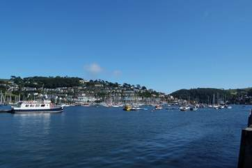 A view down river towards to the sea with Kingswear in the background.