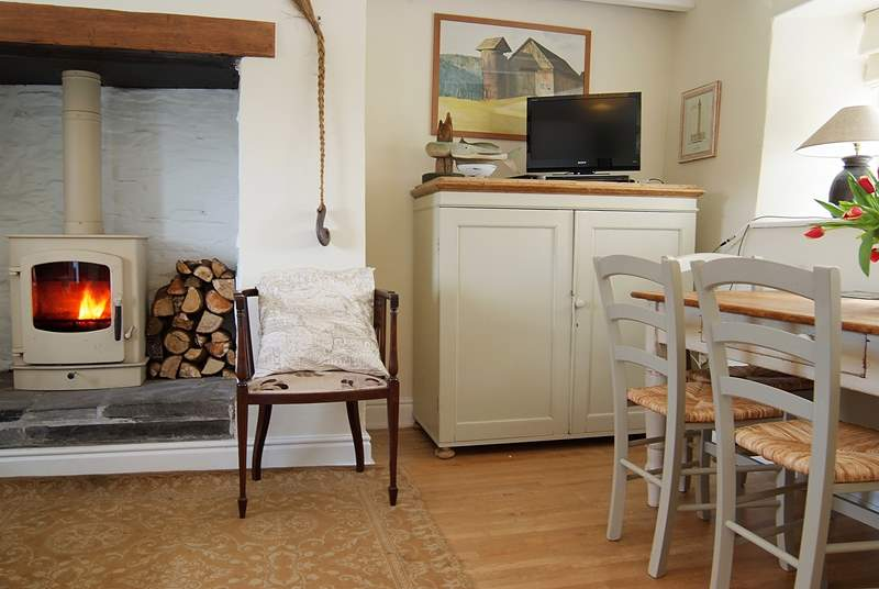There is a lovely wood-burner in the open plan living-room.