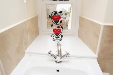 A quirky touch in the family bathroom.
