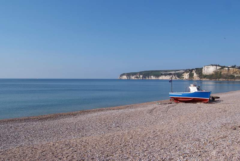 The pebbled beach at Seaton is the closest to Tatworth.