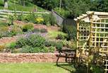 The beautiful terraced garden with the orchard and woodland beyond.