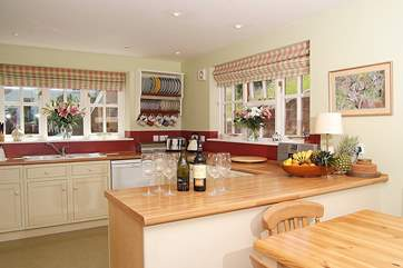 The sociable kitchen and dining-area is a real family room.