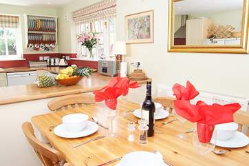The sociable kitchen/dining-room - a lovely setting for a celebration or just for a happy family meal.