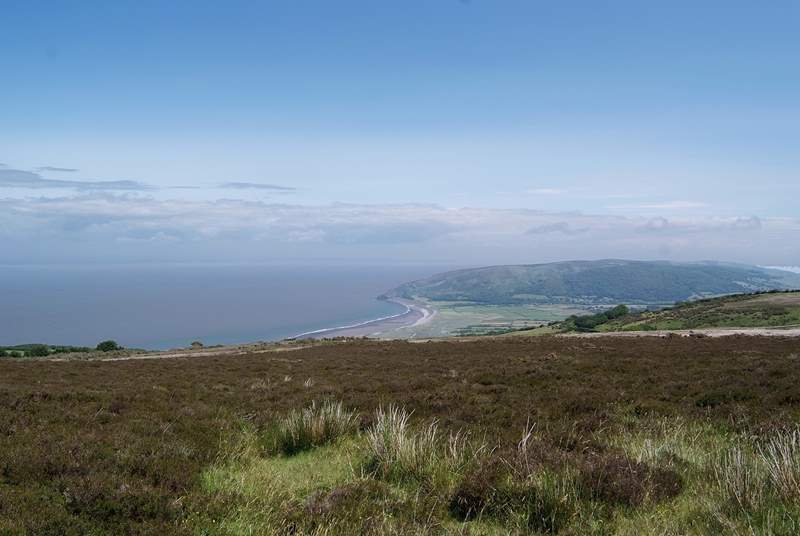 Porlock is one of the places where Exmoor meets the coast - this is the view over the top of the village towards Bossington and Greenaleigh Point - a wonderful section of the South West Coasl Path.