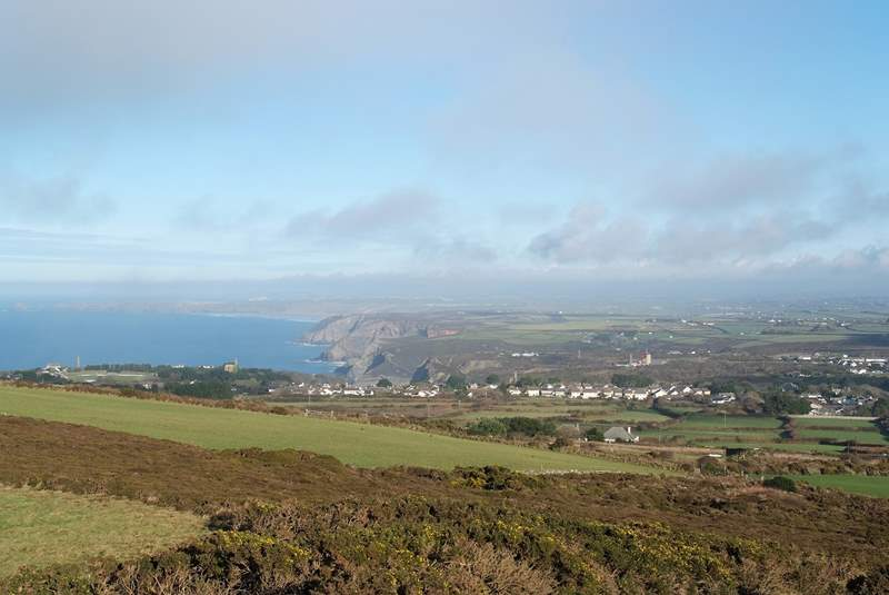 At the top of St Agnes Beacon the views up the coast beyond the village of St Agnes are breathtaking.