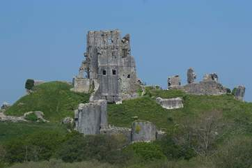 This dramatic view of Corfe Castle is a two-minute walk from the cottage.