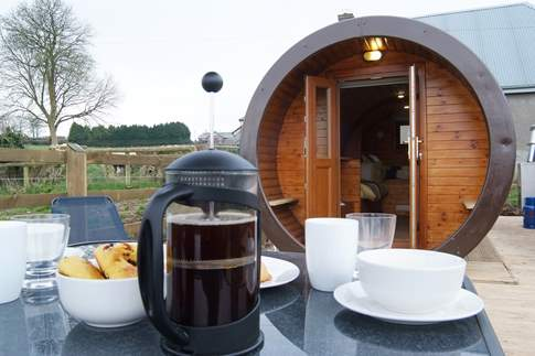 True glamping! What could be better than morning coffee al fresco overlooking the glorious countryside?