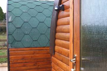 A side angle of the Glamping Pods.