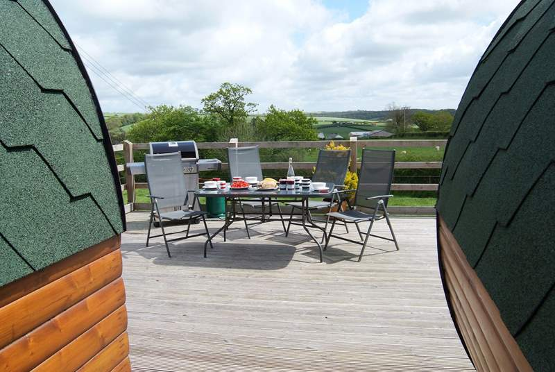 The pods sit on a large deck where there is plenty of space to dine, barbecue and sunbathe.