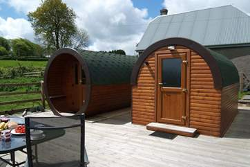 The Living Pod is on the left and the Shower Pod is on the right.