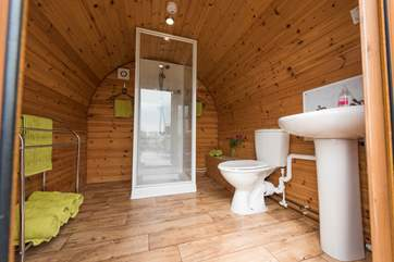 Next door to the Living Pod is the Utilities Pod with your en suite shower-room.