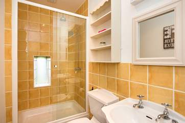 The shower room is bright and inviting