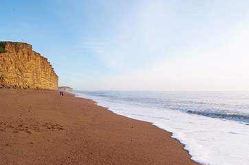 The stunning stretch of coast at West Bay, the closest beach to West Farm.