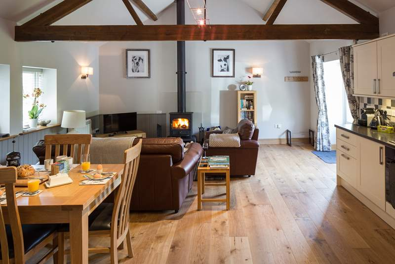 The open plan interior has a wood-burner making this a great place to stay whatever time of year.