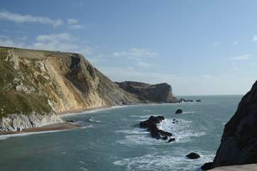 The spectacular World Heritage Jurassic Coast, between Lulworth Cove and Durdle Door.