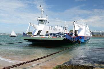 The Sandbanks Ferry travels on chains across the strong tides at the entrance to Poole Harbour, linking Poole with The Isle of Purbeck.