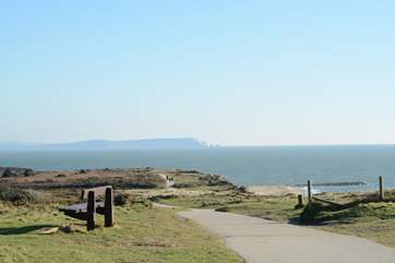 Panoramic views from the top of Hengistbury Head, inland Christchurch Harbour, across to The Isle Of Wight shown here, to the right Bournemouth Bay and the beginning of The Jurassic Coast.