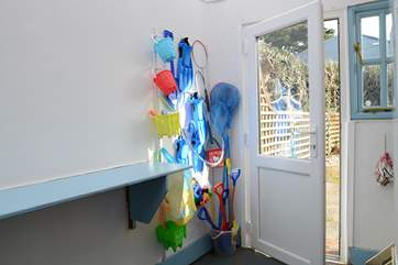 You will find a lovely array of seaside kit for the children, great for crabbing on the quay.