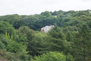 From across the valley you can see the Owners home and Shuffley Barn (2781), Tin Stream cottage is hidden behind the trees.