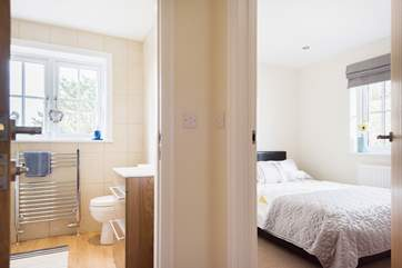 The bathroom is right next door to the double bedroom at the front of the cottage.