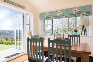 Dining with that view and with the doors open you can bring the outside in on a sunny day.