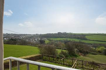 What a view from the bedroom, the market town of Helston on your left and the Penrose Estate straight ahead.