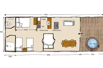 This will be the layout of the spacious tent including your very own hot tub on the deck overlooking the outstanding views.