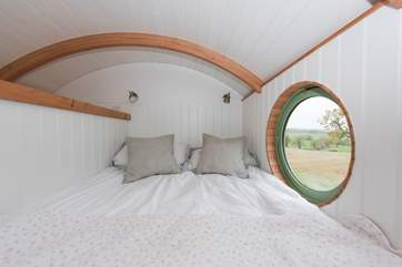The lovely mezzanine bedroom with it's gorgeous view.