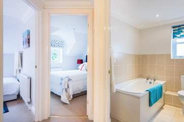The single and double bedrooms are right next to the family bathroom.