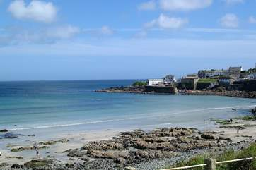 The beach at Coverack is dog-friendly all year round and is only 6 minutes by car or 45 minutes if you want to walk, why not stop for a bit to eat before heading back.