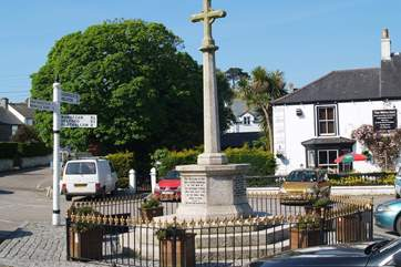 The pretty square at St Keverne, the cottage is located just a two minute walk from the pub where its roast on a Sunday and you can order chinese takeaway at the weekend!