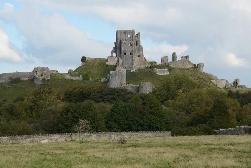 Imposing Corfe Castle dominates the pretty village of Corfe.