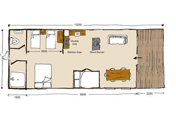 This floor plan shows how much space there is with a 5ft super-comfy double bed, two 3ft twin beds and a double cabin bed, perfect as a den for little ones.