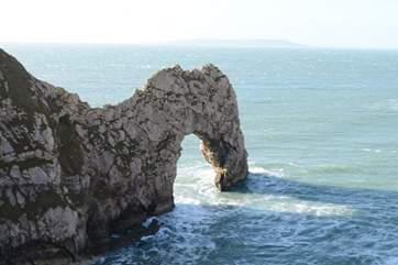 Iconic Durdle Door dominates this stretch of The Jurassic Coastline.