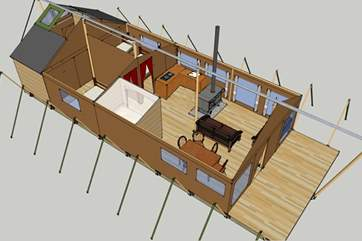This 3D image shows the layout, the ensuite shower room and the separate WC and wash basin are to the rear of the tent.