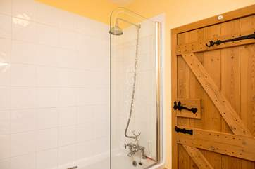 Shower over the bath.
