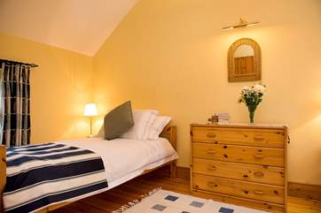 Twin bedroom, with a bird's eye view over the rolling countryside.