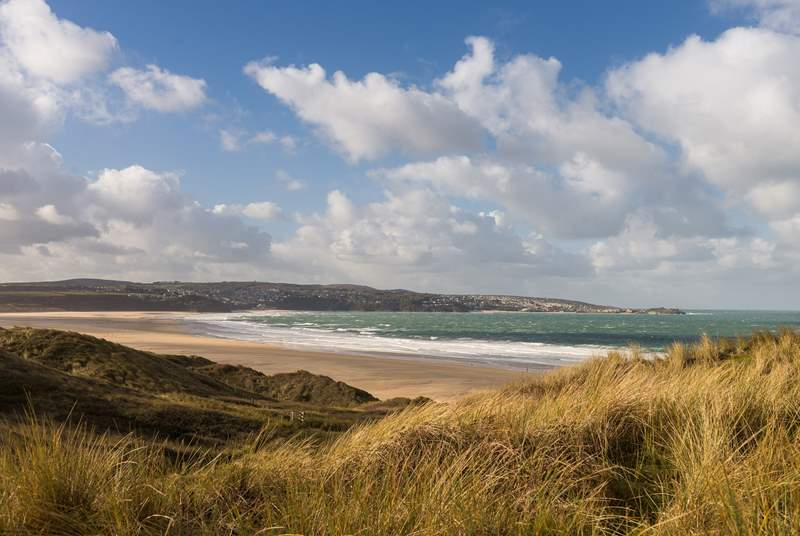 The view across from Mexico Towans towards St Ives in the distance.