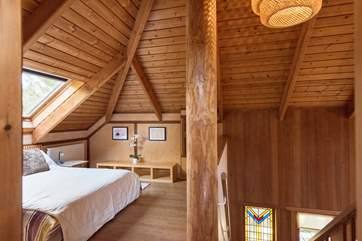 You can really appreciate the beautiful design of this Japanese house from the bedroom at the top of the house.