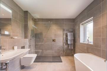 The fabulous family bathroom with the biggest walk-in shower.